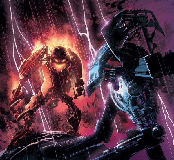 Deux combattants Glatorian, soldats de la Guerre du Noyau