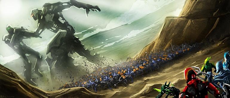 La Bataille de Bara Magna opposant les armées Rahkshi, Skakdi et Skrall aux Toa, Glatorian et à leurs alliés