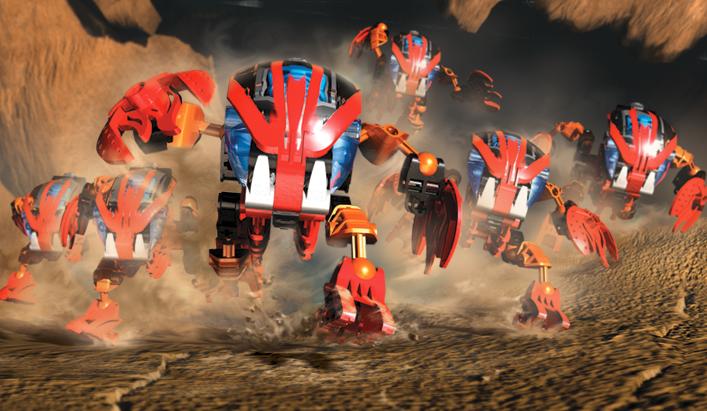Image promotionnelle mettant en scène un essaim de Tahnok, le Bohrok rouge sorti en 2002